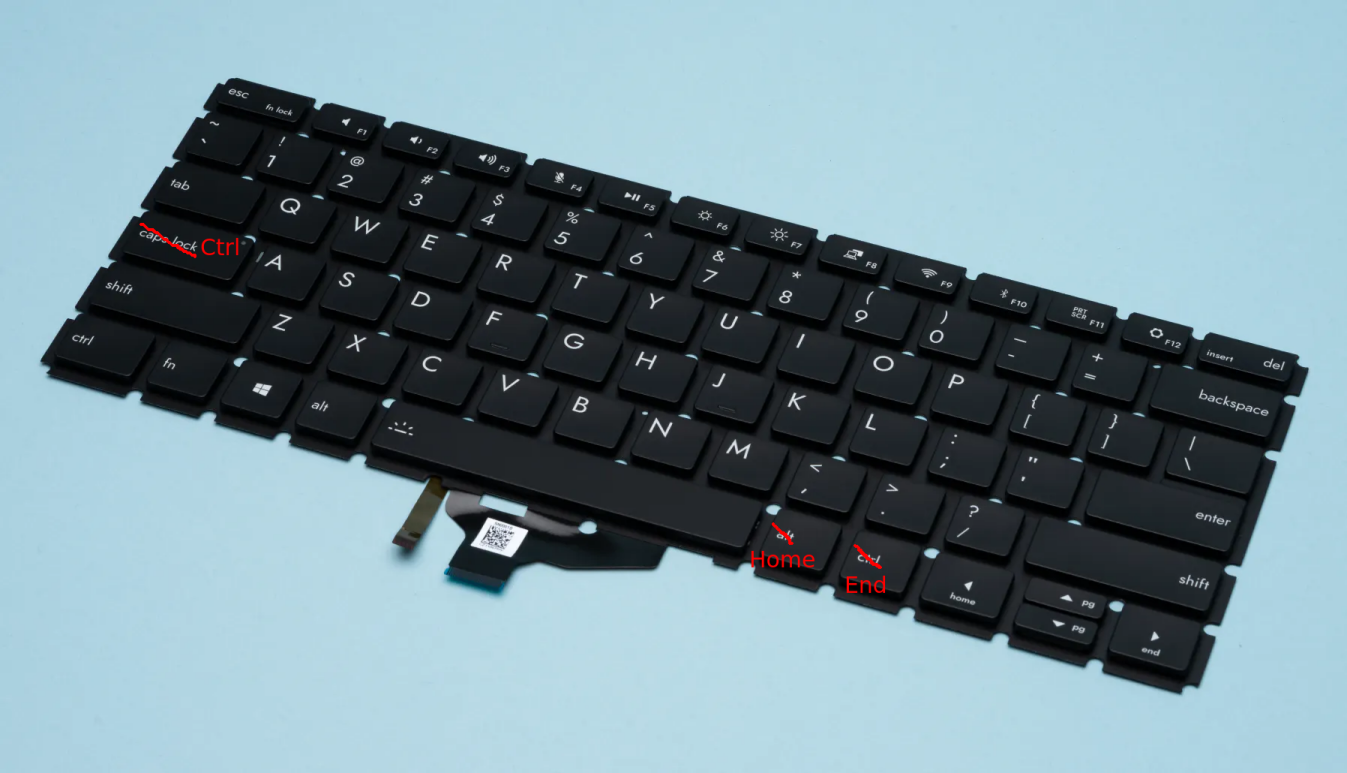 keyboard with remapped keys labelled